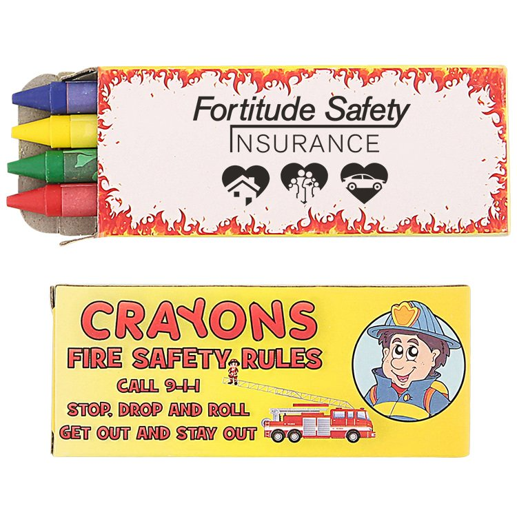 Cardboard 4 pack fire safety crayons with branded logo.