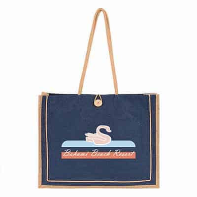 Natural jute bliss tote bag with personalized full color imprint.