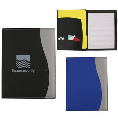 PVC black with silver ripple padfolio with custom imprint.