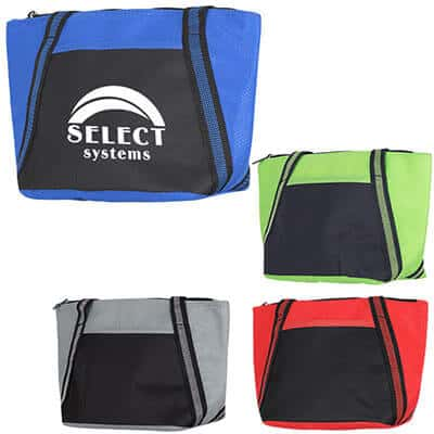 Polypropylene and polyester royal blue cooler tote with logo.