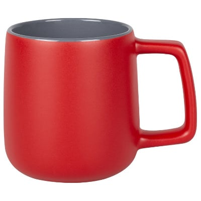 Ceramic red coffee mug with c-handle blank in 15 ounces.