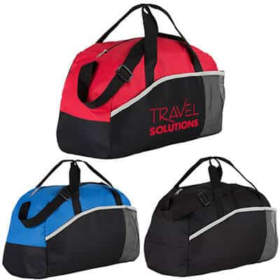 Polyester red professional duffel with branded imprint.