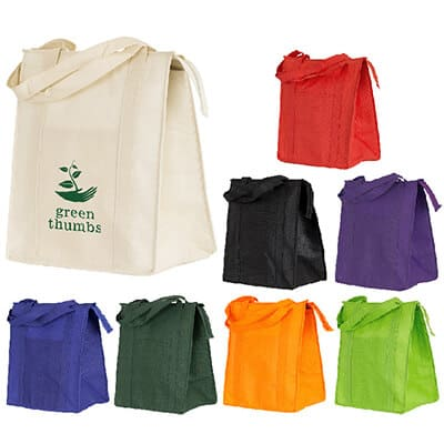 Polypropylene cream insulated grocery tote with branded logo.
