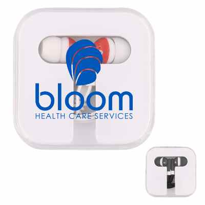 Plastic white promotional earbuds with case.