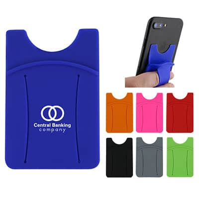 Customized silicone blue phone wallet with finger ring.