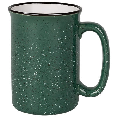 Ceramic green coffee mug with c-handle blank in 13 ounces.