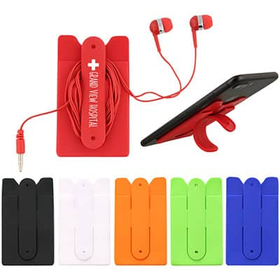 Silicone red phone stand wallet with customized logo.