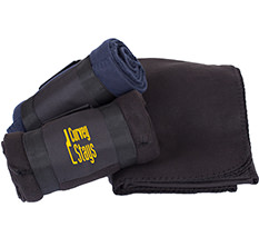 Black anti-pilling polyester fleece blanket with one color imprint on the front panel of the black carrying wrap.