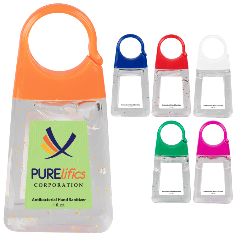 Plastic 1.35 ounce orange bottled hand sanitizer with clip imprinted with full color logo.