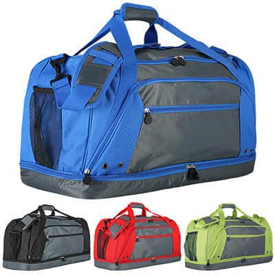 Polyester and dobby royal blue drop bottom duffel blank.