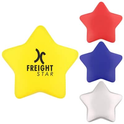 Foam yellow star stress ball with custom imprint.