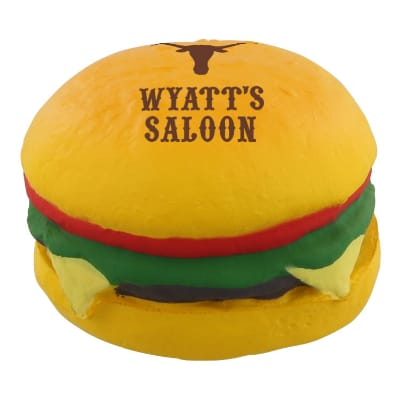 Foam cheeseburger stress ball logoed with a custom imprint.