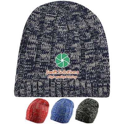 Embroidered navy blue customized knit beanie.