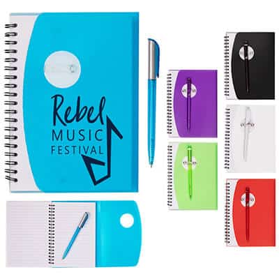 Translucent blue customized fold over cover notebook with pen.
