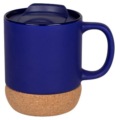 Ceramic cobalt blue coffee mug with c-handle blank in 14 ounces.