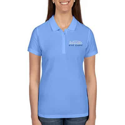Embroidered carolina blue customized collared polo.