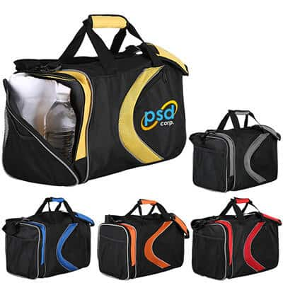 Polyester and mesh yellow and black activity duffel with custom full color imprint.