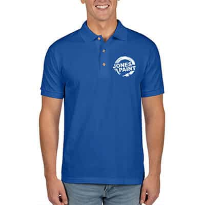 Royal blue customized polo shirt.