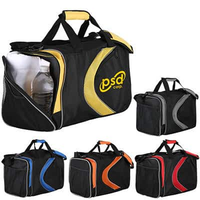 Polyester and mesh yellow and black activity duffel with custom imprint.