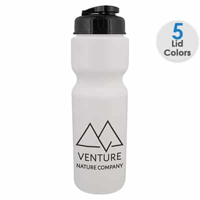 Plastic frost water bottle with custom logo and flip top lid in 28 ounces.