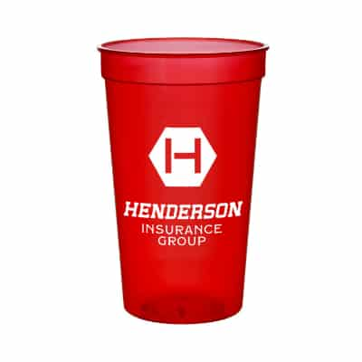 Plastic translucent blue stadium cup with custom imprint in 22 ounces.