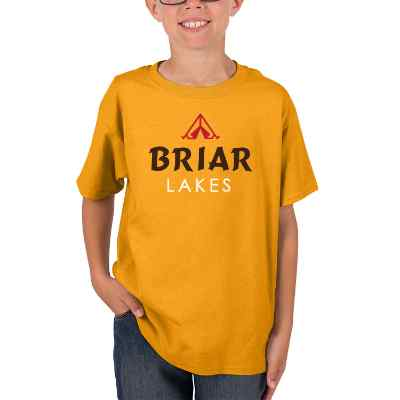 Gold full print customized child t shirt.
