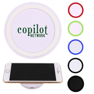 Plastic wireless white charging pad with a personalized logo.