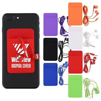 Spandex and plastic red phone wallet and earbuds with imprinting.