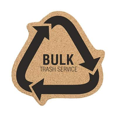 5 inch cork recycle symbol coaster with promotional logo.