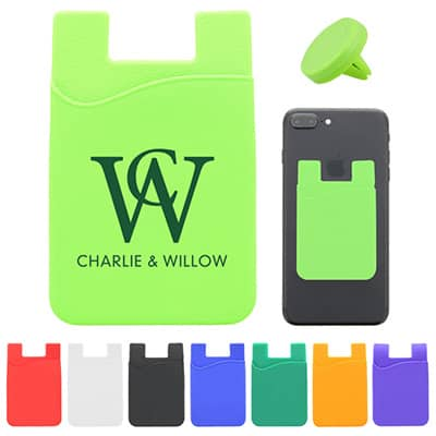 Silicone and plastic lime green phone wallet and car vent mount with logo.