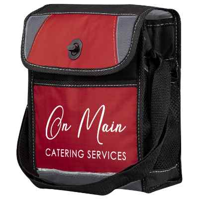 Polyester and nylon red apex lunch cooler with custom imprint.