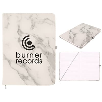 Polyurethane white with gray marble print journal with custom imprint.