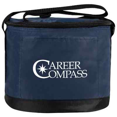 Polyester navy round on-the-go lunch cooler with printed logo.