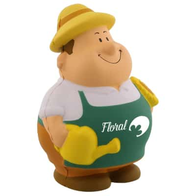 Foam gardener pete stress ball logoed with custom print.