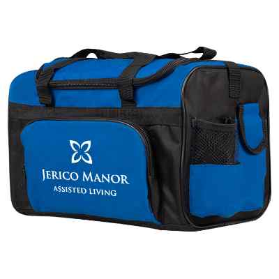 Polyester royal blue large duffle cooler with branded imprint.