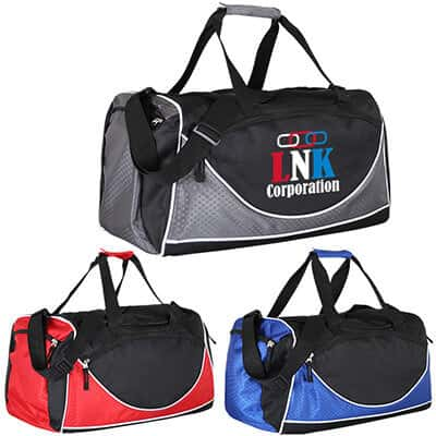 Polyester and ripstop black and gray worker duffel with full color imprinting.