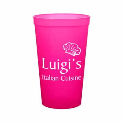 Plastic translucent neon orange stadium cup with custom imprint in 22 ounces.