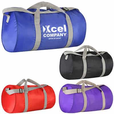 Polyester royal blue economy duffel with branded imprint.