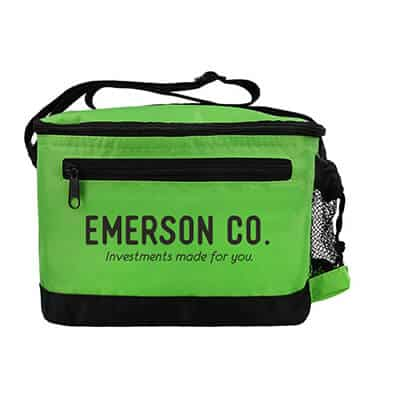 Nylon lime green delta 6 pack cooler bag with custom imprint.