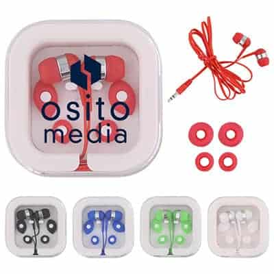 Plastic clear branded case with red earbuds.