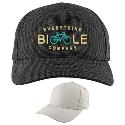 Embroidered charcoal customizable ball cap.