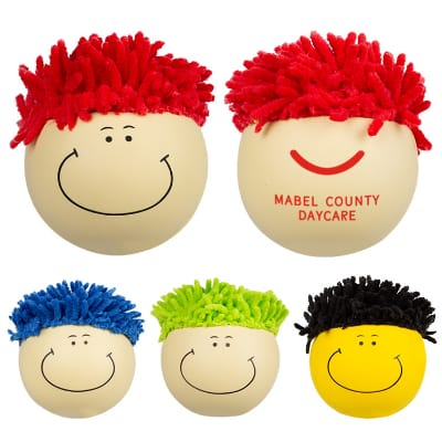 Foam red hair mop topper stress ball with imprinting.