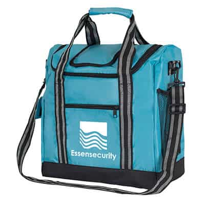 Nylon light blue insulated lunch cooler with imprinting.