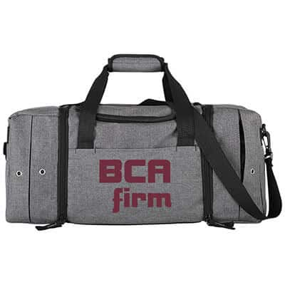 Polycanvas gray superior sneaker duffel with branded logo.