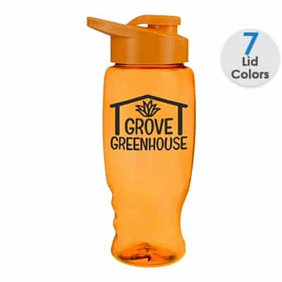 Plastic translucent orange water bottle with custom logo and snap lid in 27 ounces.