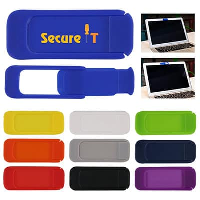 Plastic royal Blue sliding webcam cover with custom full-color imprint.