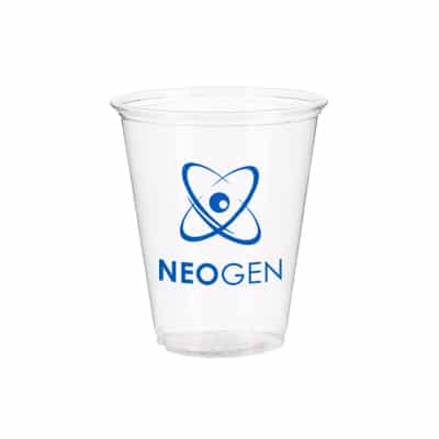 PET plastic clear soft sided cup with custom branding in 7 ounces.