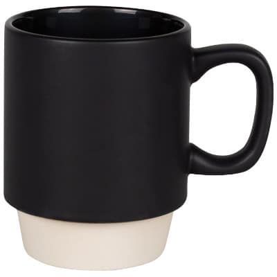 Ceramic black coffee mug with c-handle blank in 14 ounces.