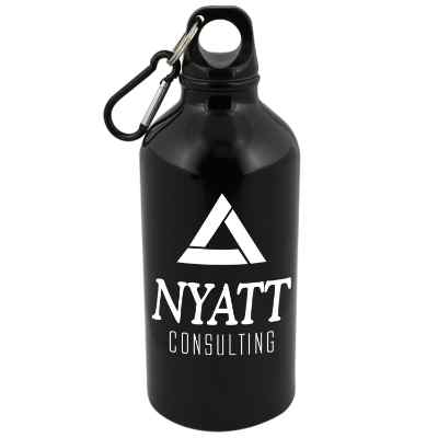 Aluminum blue water bottle with custom imprint in 17 ounces.