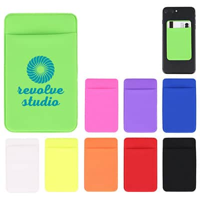 Spandex lime green phone wallet with imprinting.